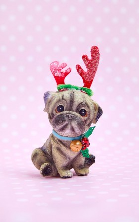 Pug Christmas Glass Decoration