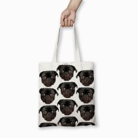 Black Pug Printed Tote Bag