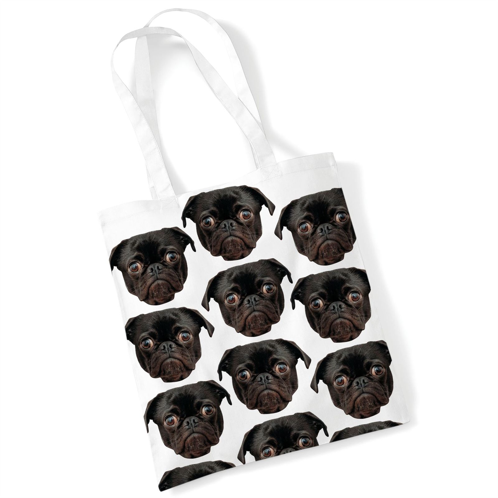 BLACK PUG PRINTED TOTE BAG 2