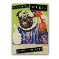 Pug Cousin Birthday Card