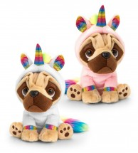 14cm Pug Rainbow Unicorn Soft Toy (Available in 2 colours)