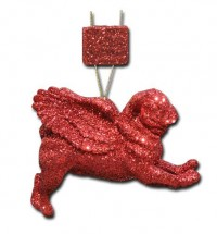 Stunning Red Glittered Pug Christmas Decoration