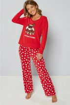 Ladies Pug Christmas Fleece Puddings PJ's (Sizes S-XXL)