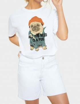 Cool Ladies Pug T Shirt