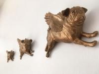 Custom Coloured Set Of 3 Three Flying Pugs