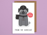 Funny Pug Star Wars Birthday Card