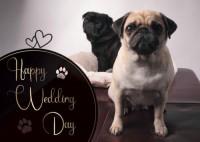 Cute Pug Wedding Postcard
