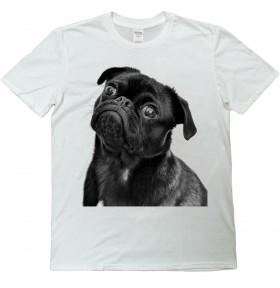 Cute Black Pug Inquisitive Unisex T Shirt