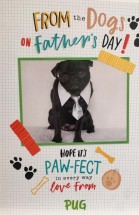 Large Black Pug Fathers Day Card