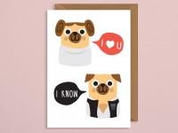 Funny Pug Star Wars Blank Card