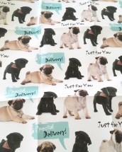 Cute Pug Puppies Large Gift Wrap Sheet & Tag