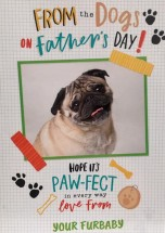 Cute From Your Furbaby Pug Fathers Day Card