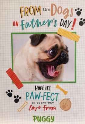 Large Pug Fathers Day Card