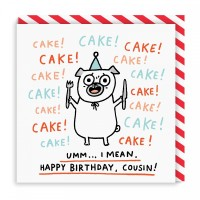 Funny Pug Cousin Birthday Card By Gemma Correll