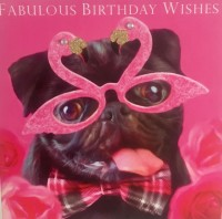 Cute Black Pug Birthday Card