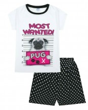 Girls Pug Short Pj Ser