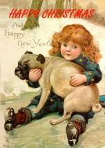 Stunning Pug Vintage Christmas Card