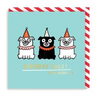 Trio Pugs Birthday Card By Gemma Correll