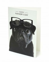 Cute Black Pug Fathers Day Card