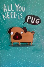 Cool Pug Blank Card