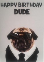 Funny Men In Black Pug Birthday Card