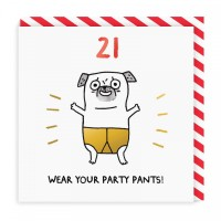 21st Pug Birthday Card By Gemma Correll