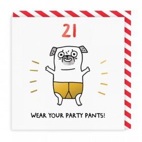 21st Pug Birthday Card By Gemma Correll
