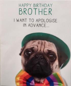 Cute & Funny Pug Brother Birthday Card