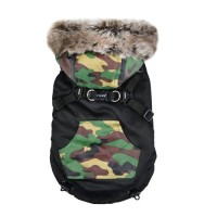 Puppia Black & Camo Orson Fleece Lined Coat