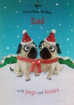 Cute Pug Dad Christmas Card