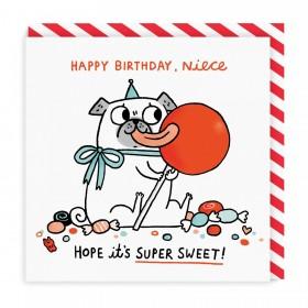 Super Sweet Niece Pug Birthday Card By Gemma Correll