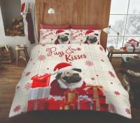 Cute Pug Christmas Duvet Set Single