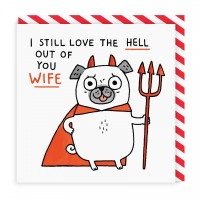 Cute Pug Birthday,Valentines, Anniversary Wife Card By Gemma Correll