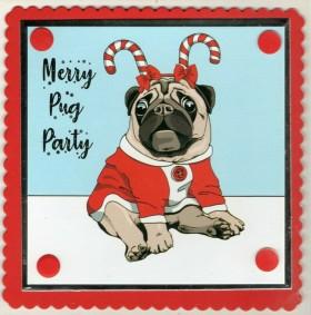 Festive pug  Novelty Christmas Card