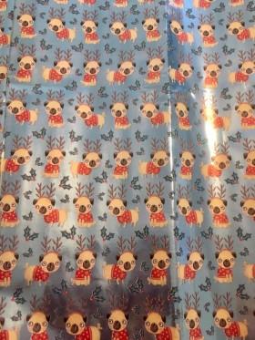 Large Thick Metallic Pug Christmas Gift Wrap Sheets
