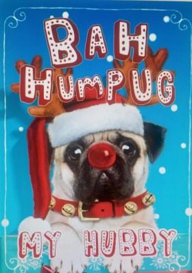 Small Pug Hubby Christmas Card