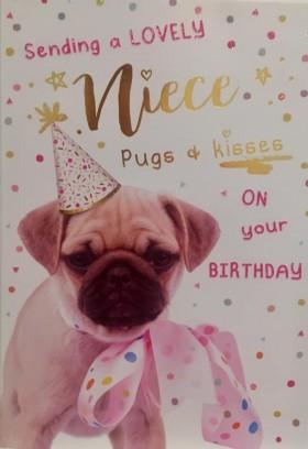Pug  Cute Niece Birthday Card