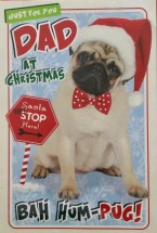 Large Pug Dad Christmas Card