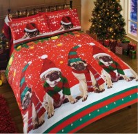 Cute Pug Christmas Duvet Set King