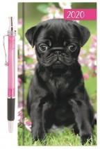 Slim Black Pug Puppy 2020 Diary & Pen Set