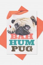 Cute Bah Hum Pug Christmas Card