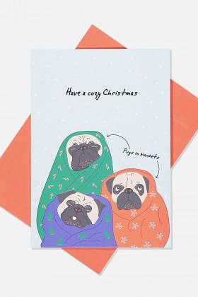 Cute Cozy Pug Christmas Card