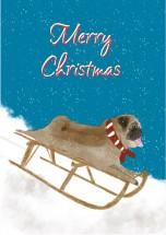 Sledging Pug Christmas Card