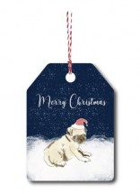 Snow Pug Christmas Gift Tag