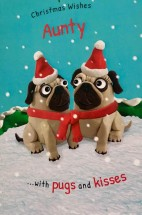 Cute Pug Aunty Christmas Card