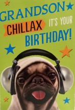 Cute & Funny Pug Grandson Birthday Card