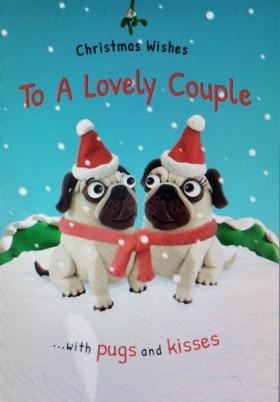 Cute To A Lovely Couple Pug Christmas Card
