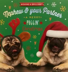 Large Pug Nephew & Partner Chrsiatmas Card