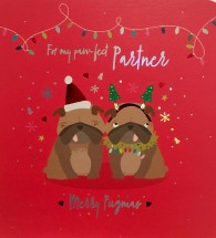 Luxury Large Pug Partner Christmas Card