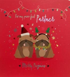 Luxury Large Pug Partner Christmas Card